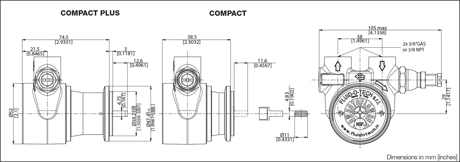 ابعاد و اندازه پمپ Fluid o Tech مدل PA204