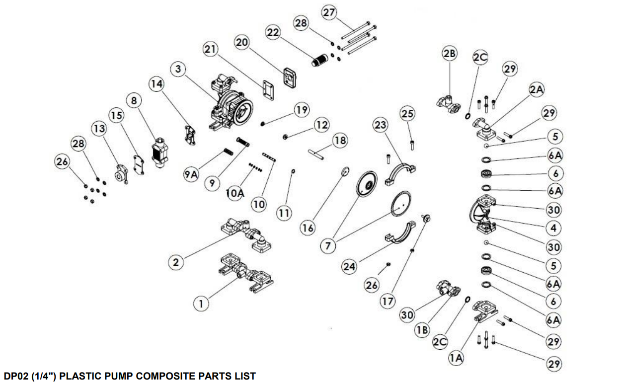 قطعات پمپ دیافراگمی دیا Dia Pump Spare Part مدل DP-02