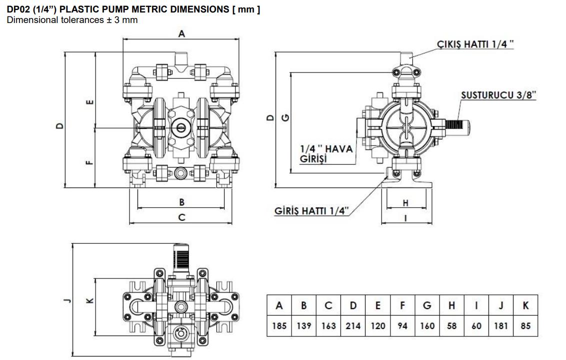 ابعاد و اندازه پمپ دیافراگمی Dia مدل DP02