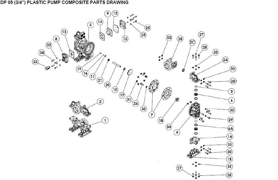 قطعات پمپ دیافراگمی دیا Dia Pump Spare Part مدل DP-05