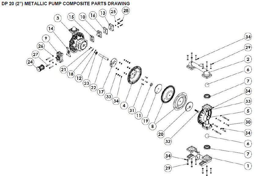 نقشه انفجاری قطعات پمپ دیافراگمی دیا Dia Pump Spare Part مدل DP-20 Pro