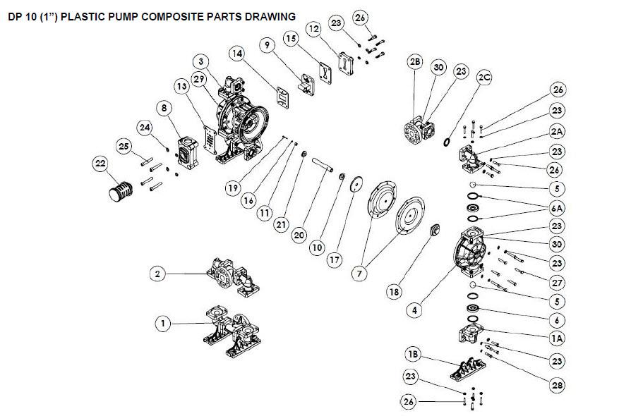 قطعات پمپ دیافراگمی دیا Dia Pump Spare Part مدل DP-10