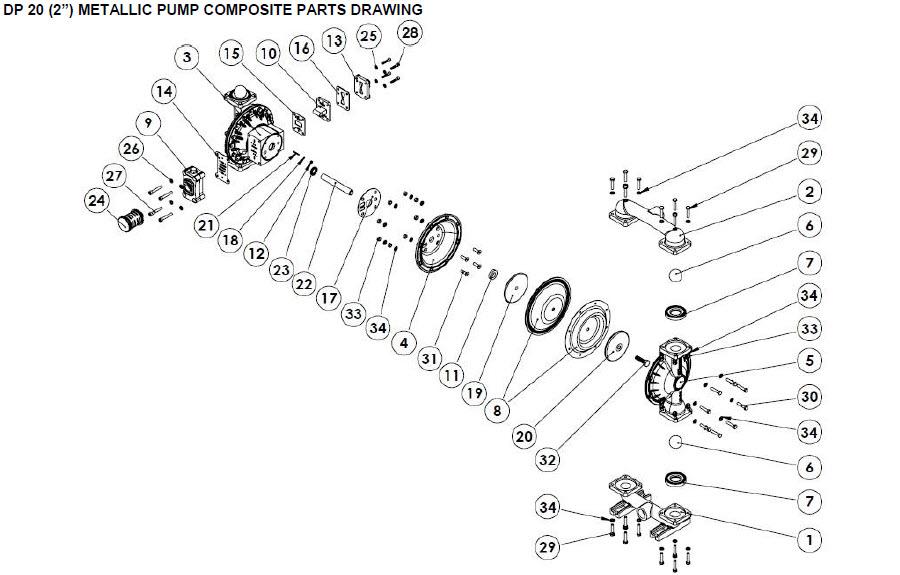 نقشه انفجاری قطعات پمپ دیافراگمی دیا Dia Pump Spare Part مدل DP-20 Plus