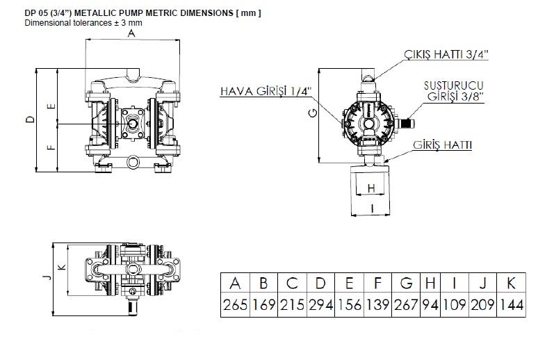 ابعاد و اندازه پمپ دیافراگمی Dia مدل DP05 Pro
