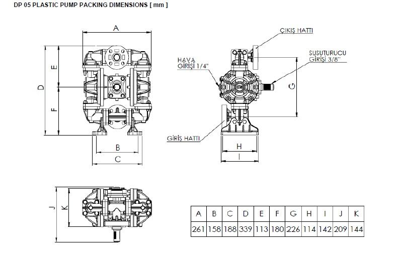 ابعاد و اندازه پمپ دیافراگمی Dia مدل DP05