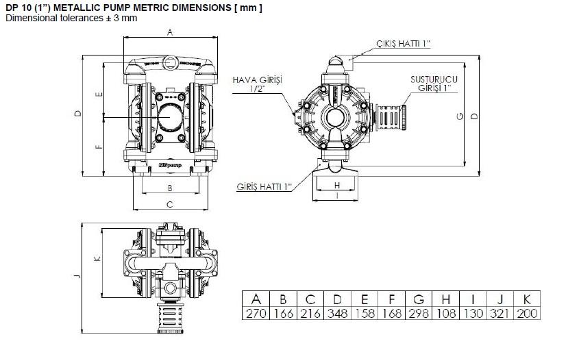 ابعاد و اندازه پمپ دیافراگمی Dia مدل DP10 Plus