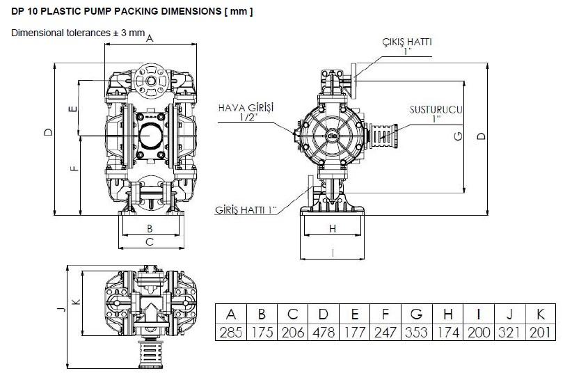 ابعاد و اندازه پمپ دیافراگمی Dia مدل DP10
