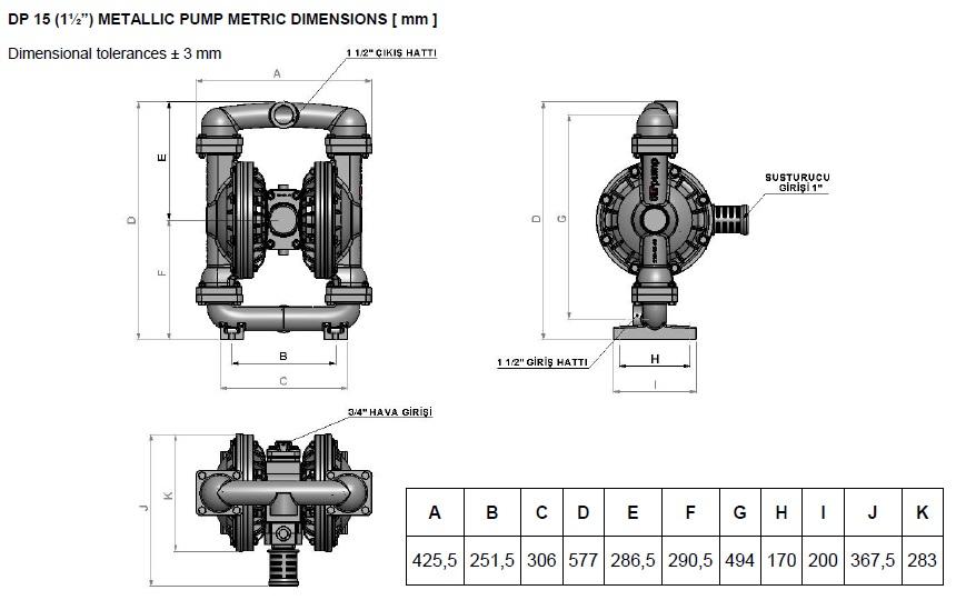 ابعاد و اندازه پمپ دیافراگمی Dia مدل DP15 Plus