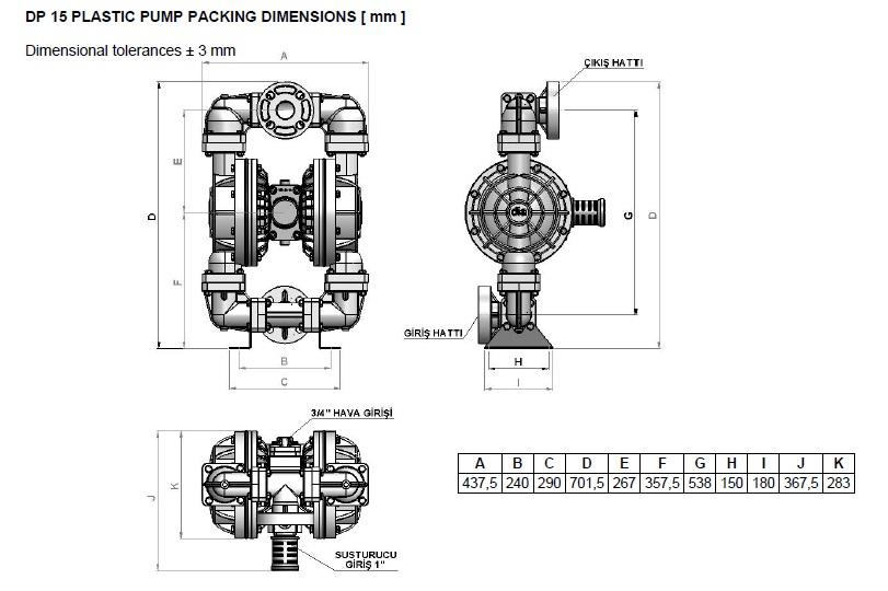 ابعاد و اندازه پمپ دیافراگمی Dia مدل DP15