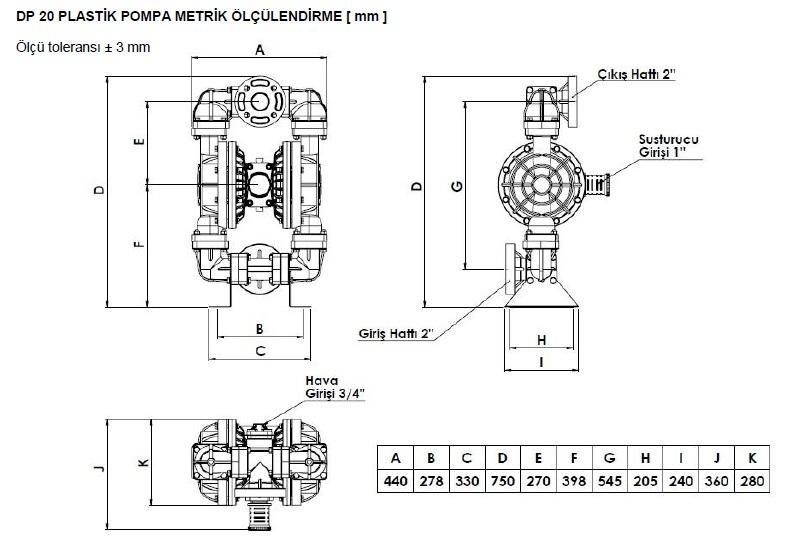 ابعاد و اندازه پمپ دیافراگمی Dia مدل DP20