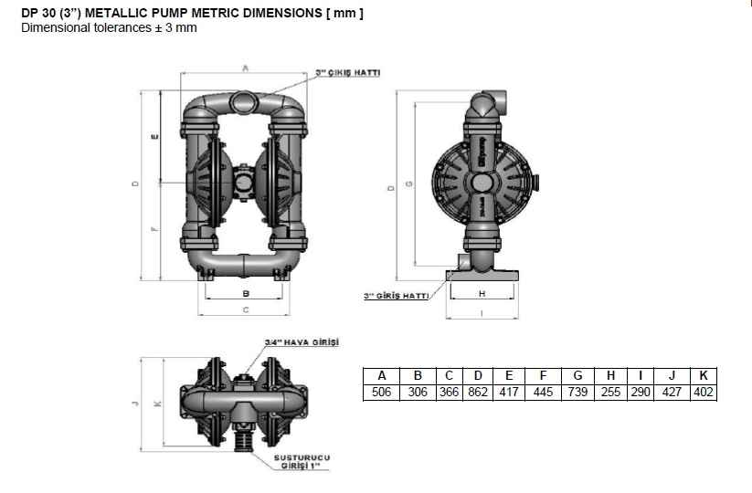 ابعاد و اندازه پمپ دیافراگمی Dia مدل DP30 Plus