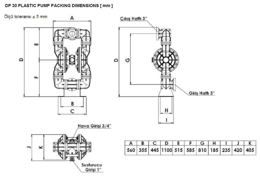 ابعاد و اندازه پمپ دیافراگمی Dia مدل DP30