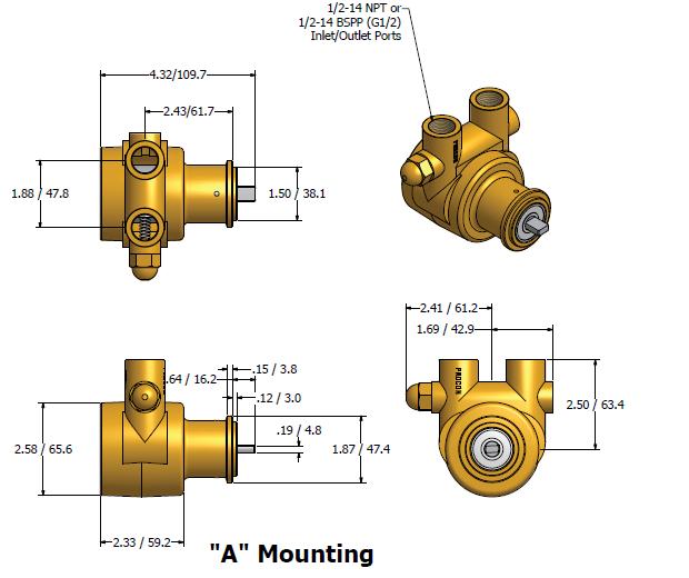 ابعاد و اندازه پمپ پره ای پروکن Procon سری 4 مدل 104A