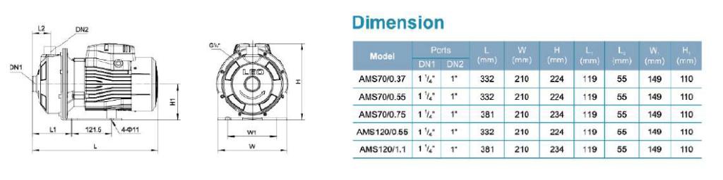 ابعاد و اندازه سری AMS 70 _120